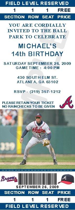 Atlanta Braves Ticket Invitations