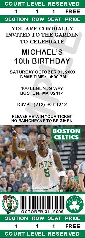Boston Celtics Ticket Invitations - Garnett