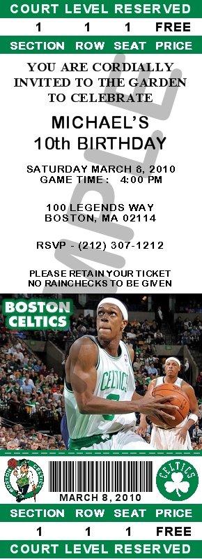 Boston Celtics Ticket Invitations - Rondo
