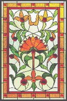 Art Nouveau Lotus Stained Glass Cross Stitch Pattern