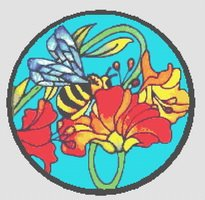 Bee With Flowers Stained Glass Cross Stitch Pattern