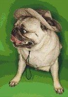 Adventurer Pug Dog in Travel Hat Cross Stitch Pattern