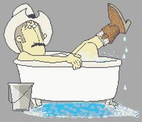 Cowboy Bath Cartoon Cross Stitch Pattern