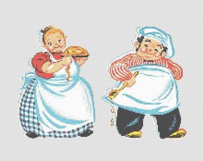 Cross Sch Patterns Food Kitchen Vintage Chef Pattern