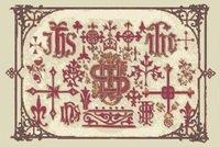 Medieval Sampler Christian Symbols Cross Stitch Pattern