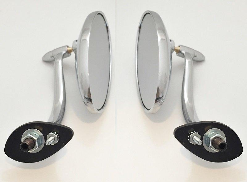 Offset Swan Neck Oval Smooth Head Exterior Door Mirrors