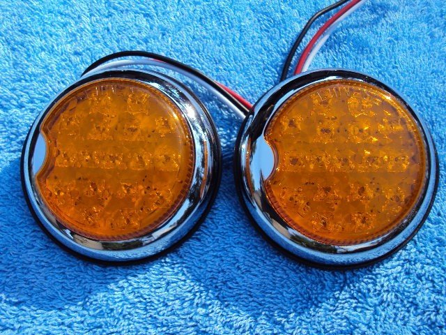 Hot Rod Turn Signals : Amber flush mount led round hot rod taillights c a
