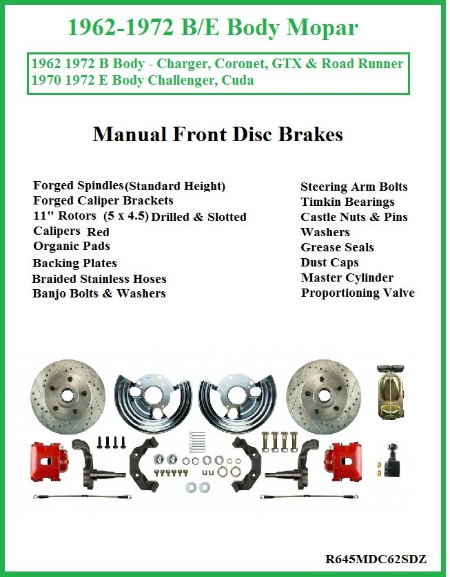 2-Front NON Power Power Disc Brake Conversion Kit