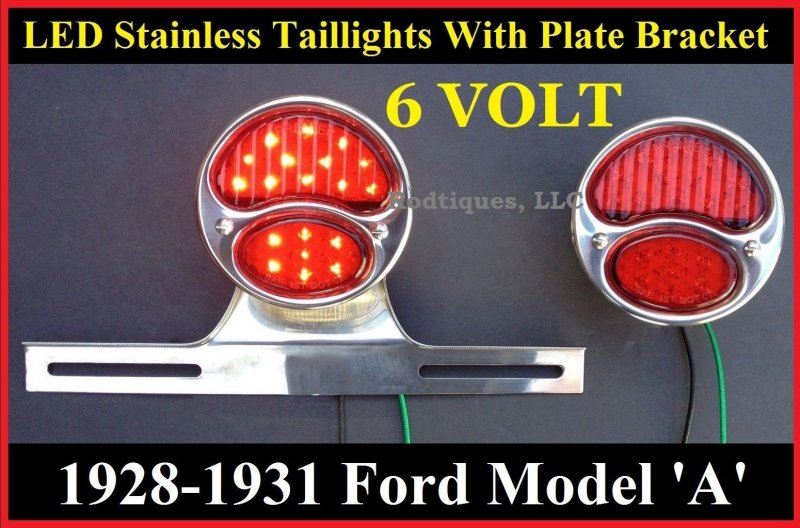 1928 1931 Model A 6 Volt Positive Ground Taillights W