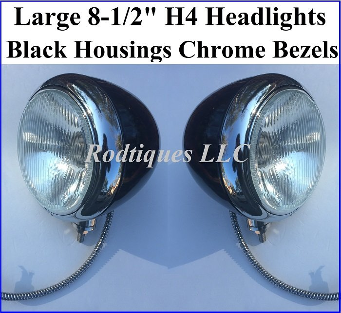 8 1 2 Black H4 Headlights With Loom Chrome Bezels