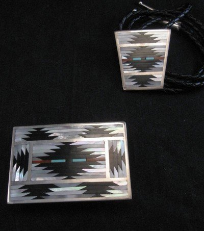 Image 3 of Zuni Rug Pattern Inlay Buckle & Bolo Set, Charlotte Dishta