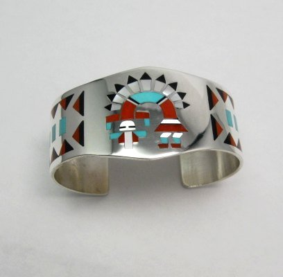 Image 3 of Fred & Lolita Natachu Zuni Rainbow Man Yei Inlay Silver Bracelet