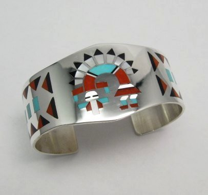 Image 4 of Fred & Lolita Natachu Zuni Rainbow Man Yei Inlay Silver Bracelet