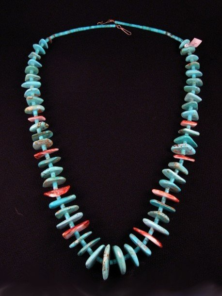 Image 6 of VINTAGE SANTO DOMINGO PUEBLO TURQUOISE & SPINY OYSTER NECKLACE, BENAVIDEZ