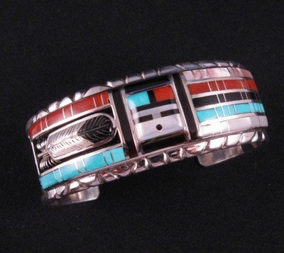 Image 3 of Don Dewa Zuni Channel Inlay Sunface Bracelet