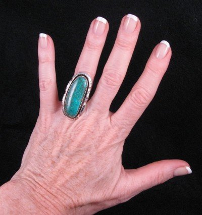 Image 3 of NATIVE AMERICAN NAVAJO TURQUOISE SILVER RING SZ5-1/2, BEA JOHNSON