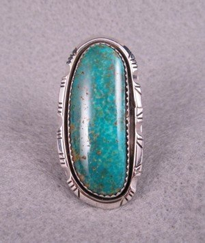 Image 4 of NATIVE AMERICAN NAVAJO TURQUOISE SILVER RING SZ5-1/2, BEA JOHNSON