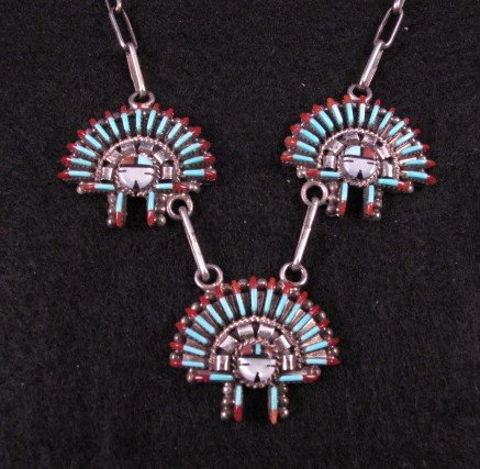 Image 2 of Zuni Needlepoint Sun Face Headress Necklace Earrings Set, Ed Cooyate