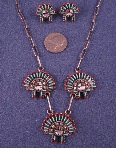 Image 3 of Zuni Needlepoint Sun Face Headress Necklace Earrings Set, Ed Cooyate