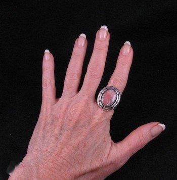Image 3 of Peruvian Opal Navajo Silver Ring Sz9-1/2, L. Bruce Hodgins