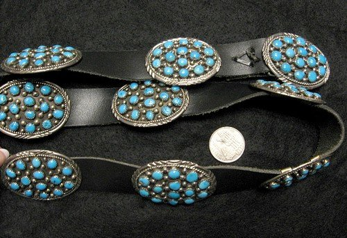 Image 3 of Dead Pawn Navajo * Roanhorse * Turquoise Silver Concho Belt