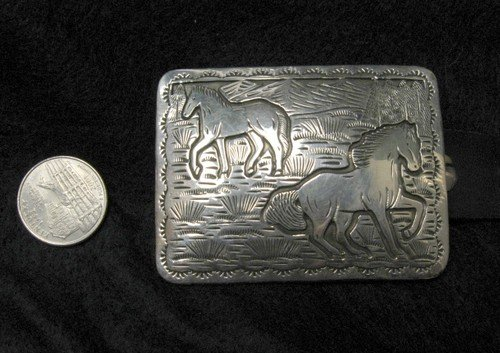 Image 3 of Eric Delgarito Navajo Sterling Silver Horse Storyteller Concho Belt