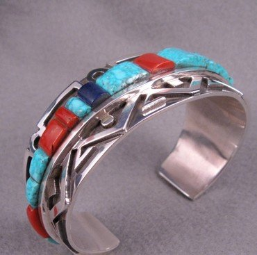Image 3 of Erick Begay Navajo ''Diminishing Light'' Cornrow Inlay Silver Bracelet