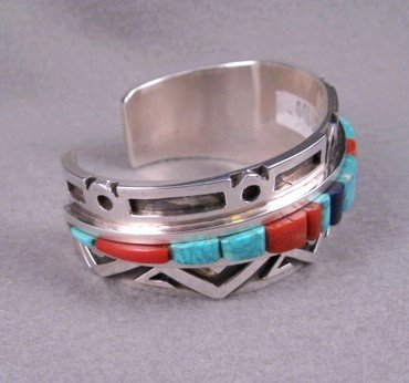 Image 4 of Erick Begay Navajo ''Diminishing Light'' Cornrow Inlay Silver Bracelet