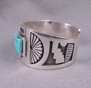 Image 5 of Erick Begay Navajo ''Diminishing Light'' Cornrow Inlay Silver Bracelet
