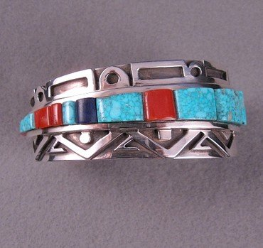 Image 6 of Erick Begay Navajo ''Diminishing Light'' Cornrow Inlay Silver Bracelet
