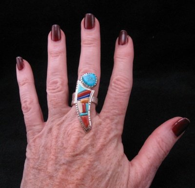 Image 3 of David Tune Navajo Native American Cobblestone Inlay Ring sz6 sz7 sz8