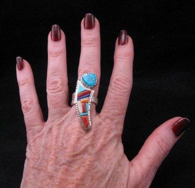 Image 3 of David Tune Navajo Native American Cobblestone Inlay Ring sz6 sz7 sz8