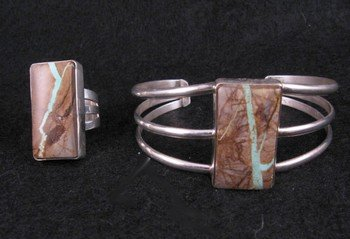 Image 4 of Native American Ribbon Turquoise Silver Bracelet