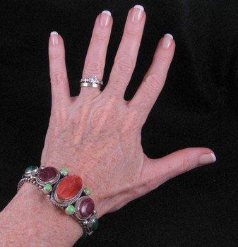 Image 4 of Navajo Multi Stone Silver Bracelet, Guy Hoskie