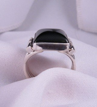 Image 3 of Square Black Onyx Navajo Silver Ring sz11, Orville Tsinnie