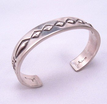 Image 3 of Navajo Hand Made Sterling Silver Cuff Bracelet, Fidel Bahe