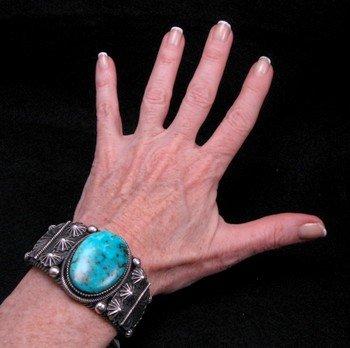 Image 3 of Leon Martinez Navajo Turquoise Silver Bracelet