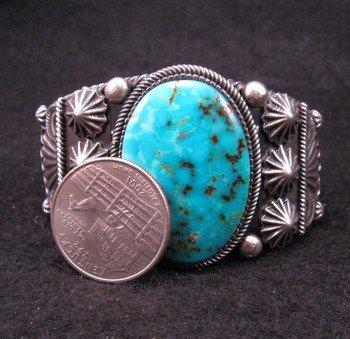 Image 4 of Leon Martinez Navajo Turquoise Silver Bracelet