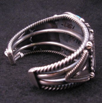 Image 5 of Leon Martinez Navajo Turquoise Silver Bracelet