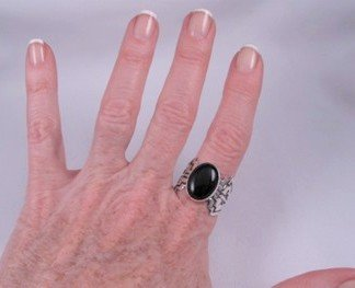Image 3 of Navajo Sterling Silver Overlay Black Onyx Ring, Everett & Mary Teller, sz10