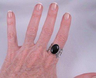 Image 3 of Navajo Sterling Silver Overlay Black Onyx Ring, Everett & Mary Teller, sz10
