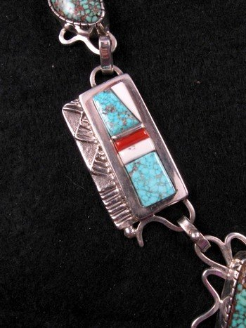 Image 3 of Navajo Erick Begay Sterling Silver Tufa Cast Turquoise Inlay Necklace
