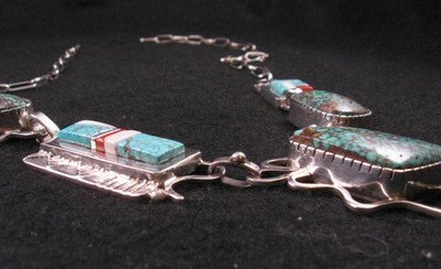 Image 4 of Navajo Erick Begay Sterling Silver Tufa Cast Turquoise Inlay Necklace