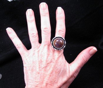 Image 4 of Sage Amethyst Agate Silver Ring, L. Bruce Hodgins, sz 11