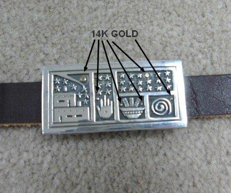 Image 2 of Fabulous Joseph Coriz Santo Domingo Silver & 14K Gold Storyteller Concho Belt