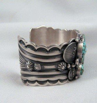 Image 3 of Delbert Gordon Navajo Turquoise Butterfly Silver Bracelet