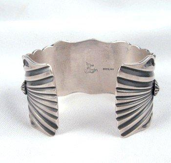 Image 4 of Delbert Gordon Navajo Turquoise Butterfly Silver Bracelet