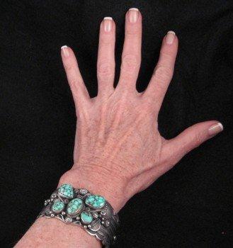 Image 5 of Delbert Gordon Navajo Turquoise Butterfly Silver Bracelet