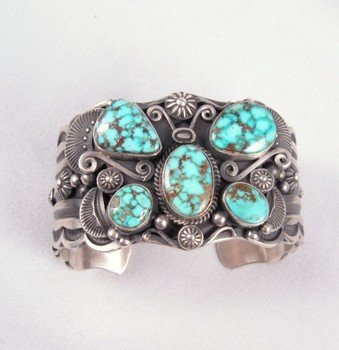 Image 0 of Delbert Gordon Navajo Turquoise Butterfly Silver Bracelet