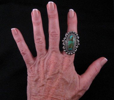 Image 4 of Leon Martinez Navajo Turquoise Silver Ring Sz8-1/2